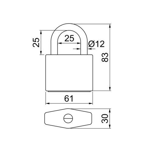 Bezpečnostná reťaz s visiacim zámkom Hardened RC3 pr. 10 mm, 3 m