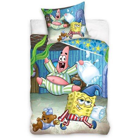 Spongya Bob gyermek pamut ágynemű Pizsamaparti, 140 x 200 cm, 70 x 80 cm