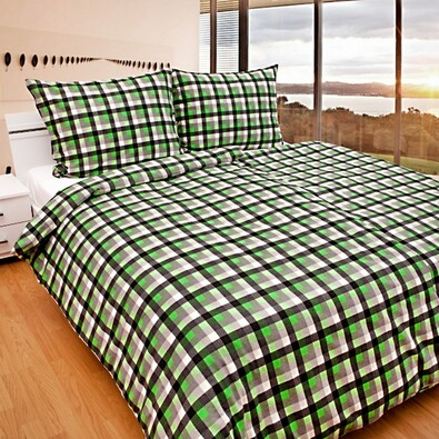 Flanelové povlečení Kostka zelená, 140 x 200 cm, 70 x 90 cm