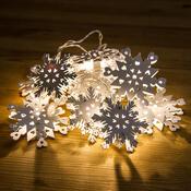 Dekorační světelný LED řetěz Vločky, bílá