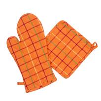 Chňapka a podložka oranžová, sada 2 ks