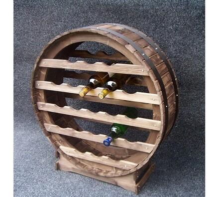 Stojan na víno - kulatý sud mořený, 21 lahví