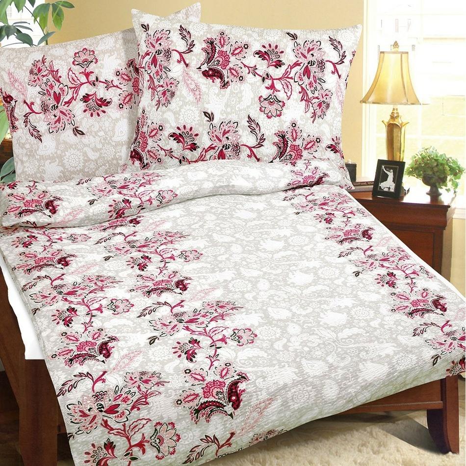 Rózsaszín virágos krepp ágynemű, 140 x 200, 70 x 90 cm, 140 x 200 cm, 70 x 90 cm