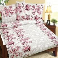 Rózsaszín virágos krepp ágynemű, 140 x 200, 70 x 90 cm
