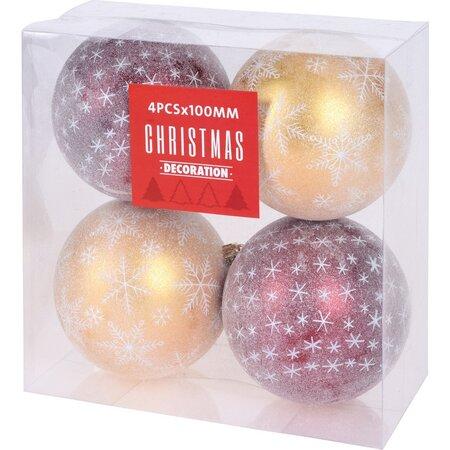 Set decorațiuni de Crăciun Koopman Pachino, roșu-galben, 4 buc., 10 cm