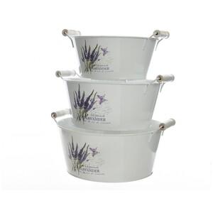 Zinkové květináče Lavender, sada 3 ks