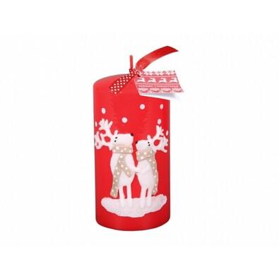 Karácsonyi gyertya Rénszarvas sállal, piros