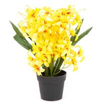 Liliom művirág, apró virágú, virágtartóban, sárga, 30 cm