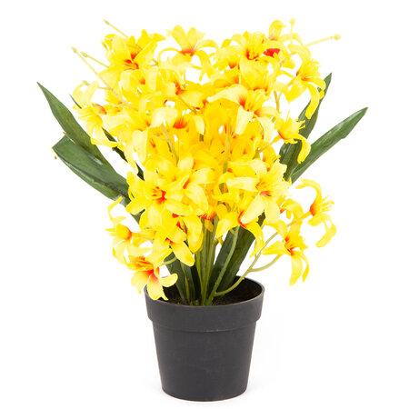 Sztuczny kwiat Lilia drobnokwiatowa w doniczce żółta, 30 cm