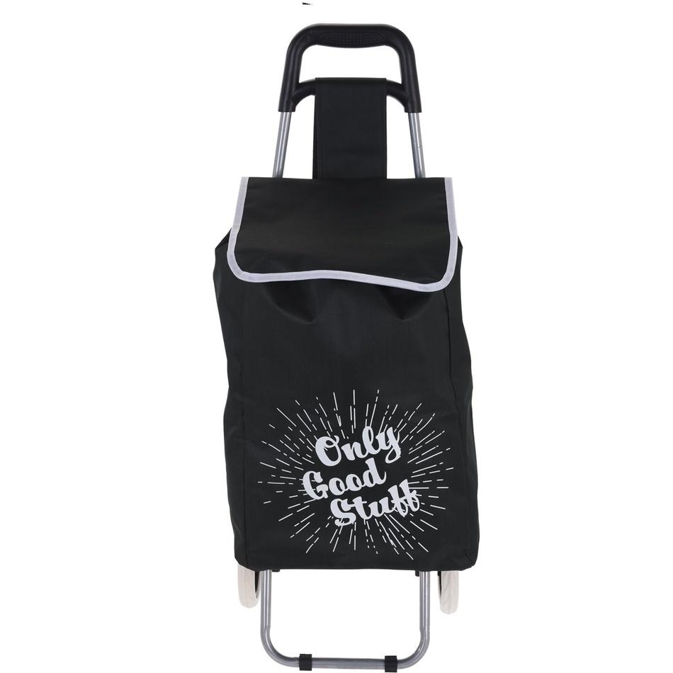 Nákupná taška na kolieskach Only Good Stuff, čierna