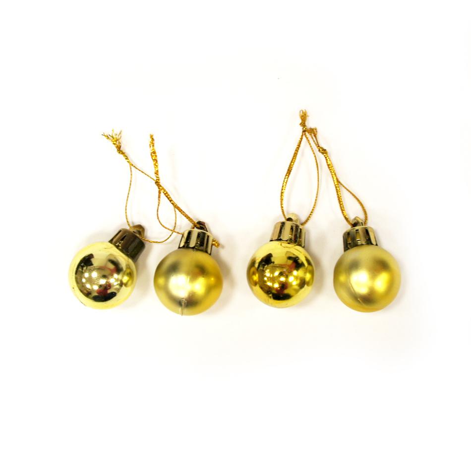 Vianočné gule pr. 2,5 cm zlatá, 24 ks, Autronic