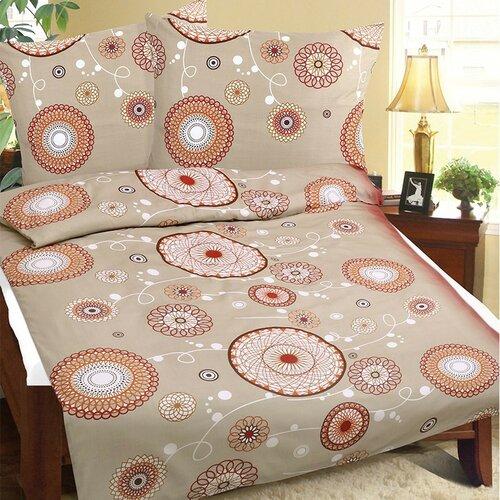 Saténové obliečky Lucie Kvety kruhové, 220 x 200 cm, 2 ks 50 x 70 cm