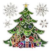 Vánoční okenní dekorace stromeček 2 ks