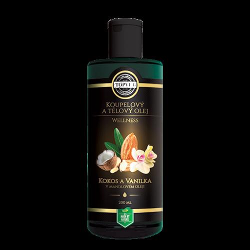 Kúpelový a tělový olej kokos a vanilka v mandlovom oleji 200 ml, Topvet