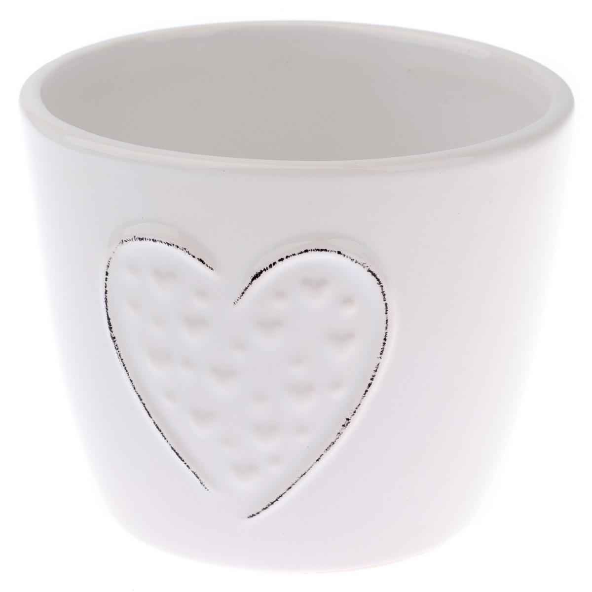 Keramický obal na květináč Little hearts bílá, pr.12 cm