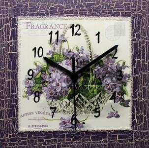 Nástěnné hodiny Kytička fialek