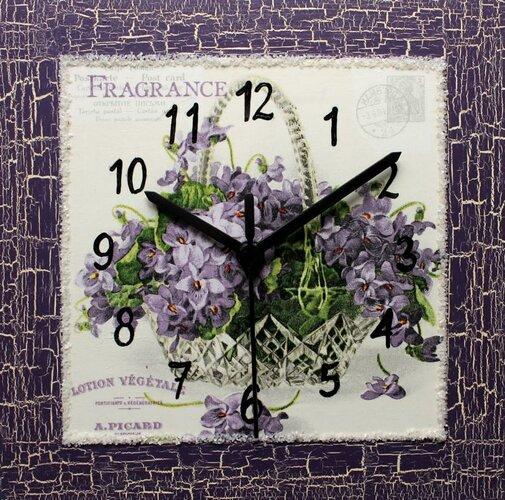 Nástenné hodiny Kytička fialiek 22 x 22 cm