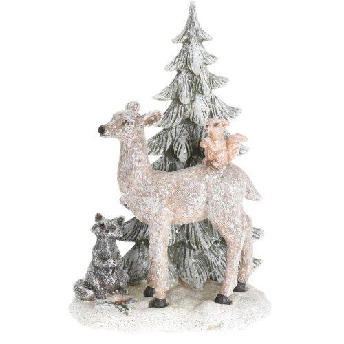 Keramická dekorace Deer with Xmas tree, 13 x 7 x 20 cm