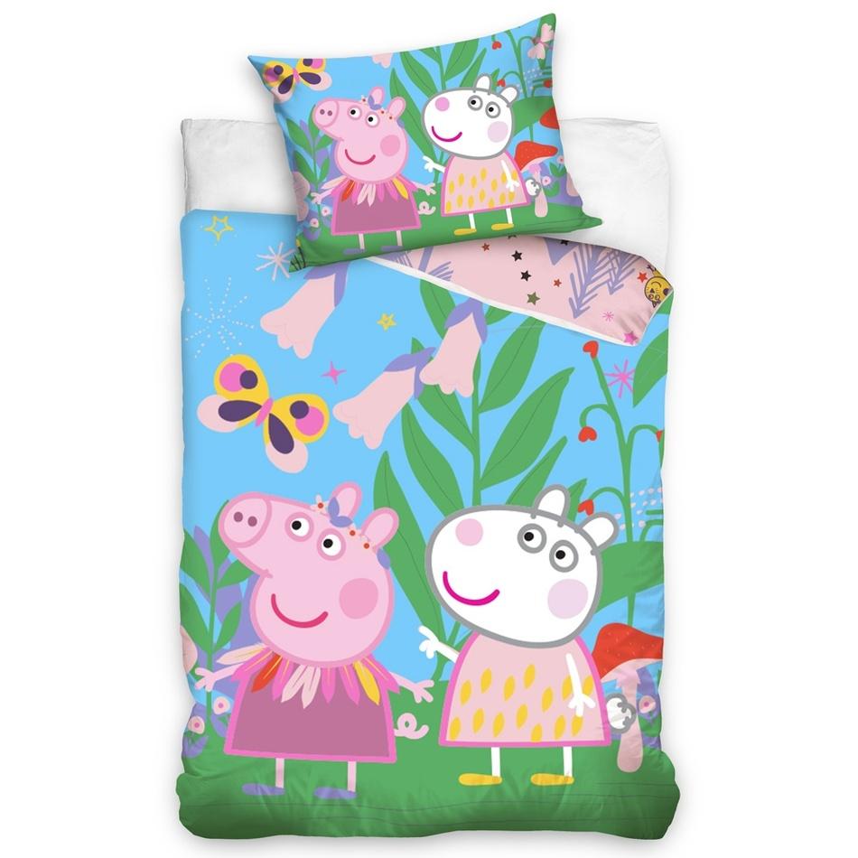 Tiptrade Detské bavlnené obliečky Prasiatko Peppa Na lúke, 140 x 200 cm, 70 x 90 cm