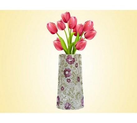 Váza skládací s květinami, vícebarevná, 19 x 28 cm