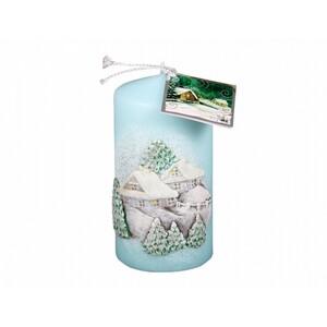Vánoční svíčka Chaloupka, modrá
