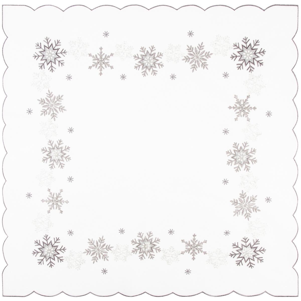 Vánoční ubrus Vločky stříbrná, 85 x 85 cm