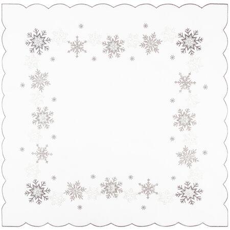 Vianočný obrus Vločky strieborná, 85 x 85 cm