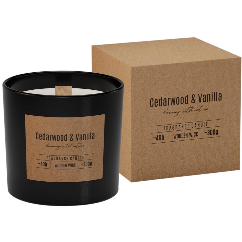 Vonná svíčka ve skle s dřevěným knotem Cedarwood & Vanilla 300g, 11 cm