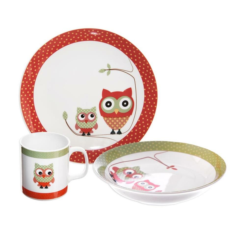 Fotografie Orion 3dílná dětská jídelní sada Sova, porcelán
