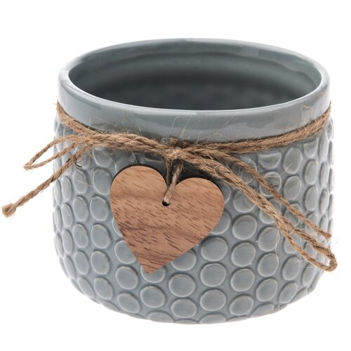 Keramický obal na květináč Heart, šedá, 12,5 x 9,5 x 9 cm