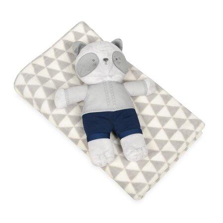 Dětská deka šedá s plyšákem medvídek, 75 x 100 cm
