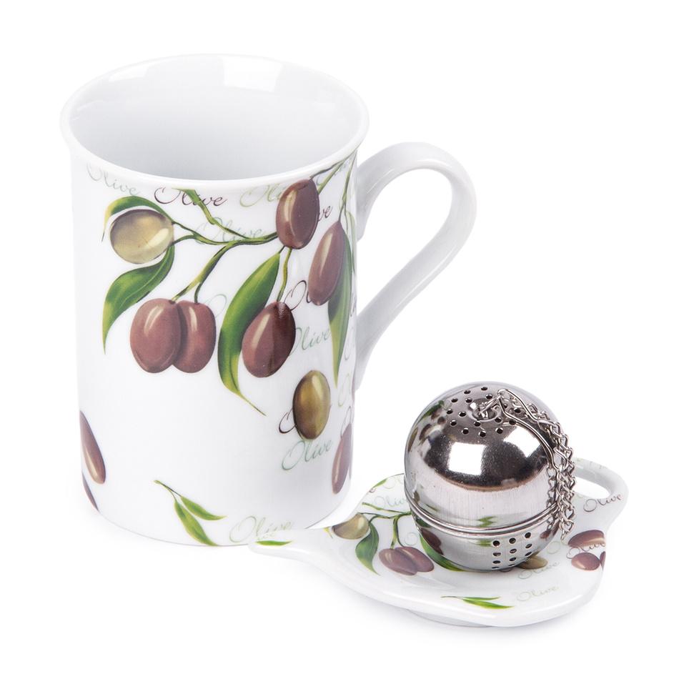 Sada hrnčeka 250 ml, čajítka a tanierika Olive