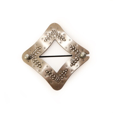 Dekorační sponka Kosočtverec ocel, 10 x 10 cm