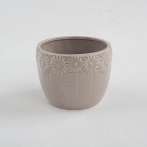 Keramický květináč Kopretina hnědá, 12,2 cm
