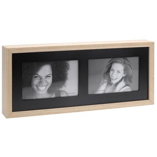 Fotorámček Wood na 2 fotografie, čierna + béžová