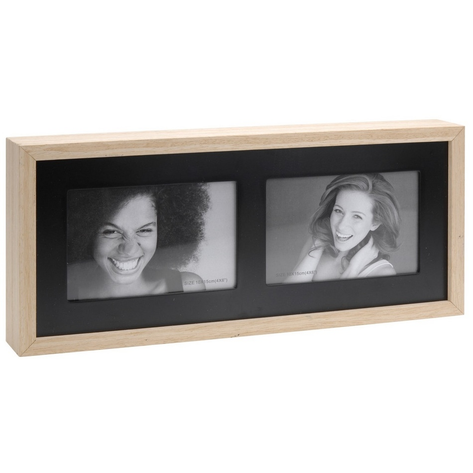 Fotorámeček Wood na 2 fotografie, černá + béžová