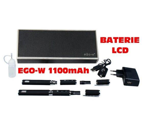 Elektronická cigareta eGo-W LCD 1100mAh, 2ks, černá, 1,4 x 13,5 cm