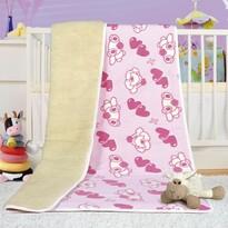 Európai merinó gyapjú takaró, rózsaszín,  100 x 150 cm