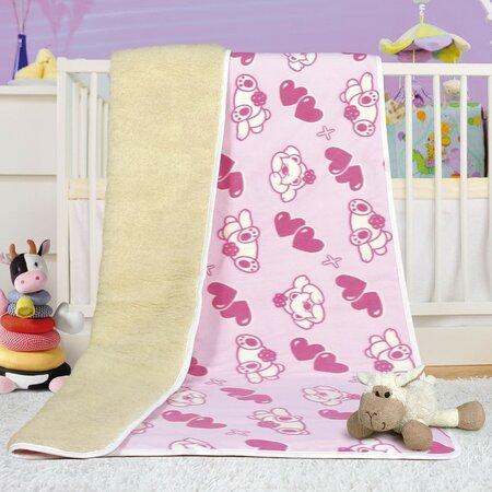 Vlněná deka Evropské merino růžová, 100 x 150 cm