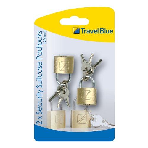 Travel Blue TBU-021 Sada mosazných cestovních  zámků na zavazadla 2 ks, 2 cm