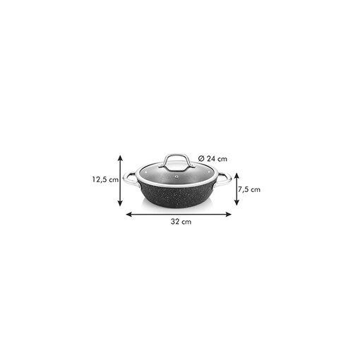 Tescoma Mély serpenyő fedovel PRESIDENT Stone  24 cm átmérőjű