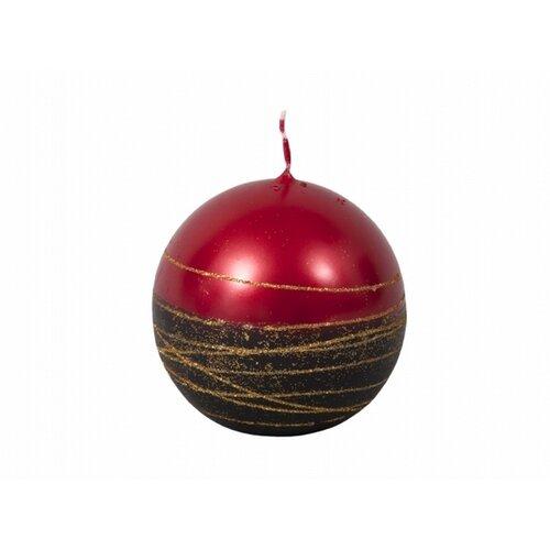 Vánoční svíčka Lumina Gold koule, červená