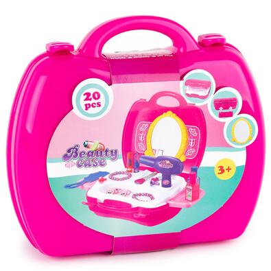 Jucărie set cosmetice în valiză, roz