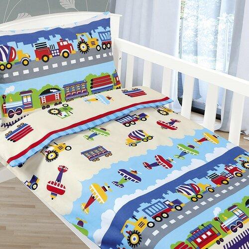 Bellatex Lenjerie de pat din bumbac pentru copii Agáta Avioane și mașini, 90 x 135 cm, 45 x 60 cm imagine