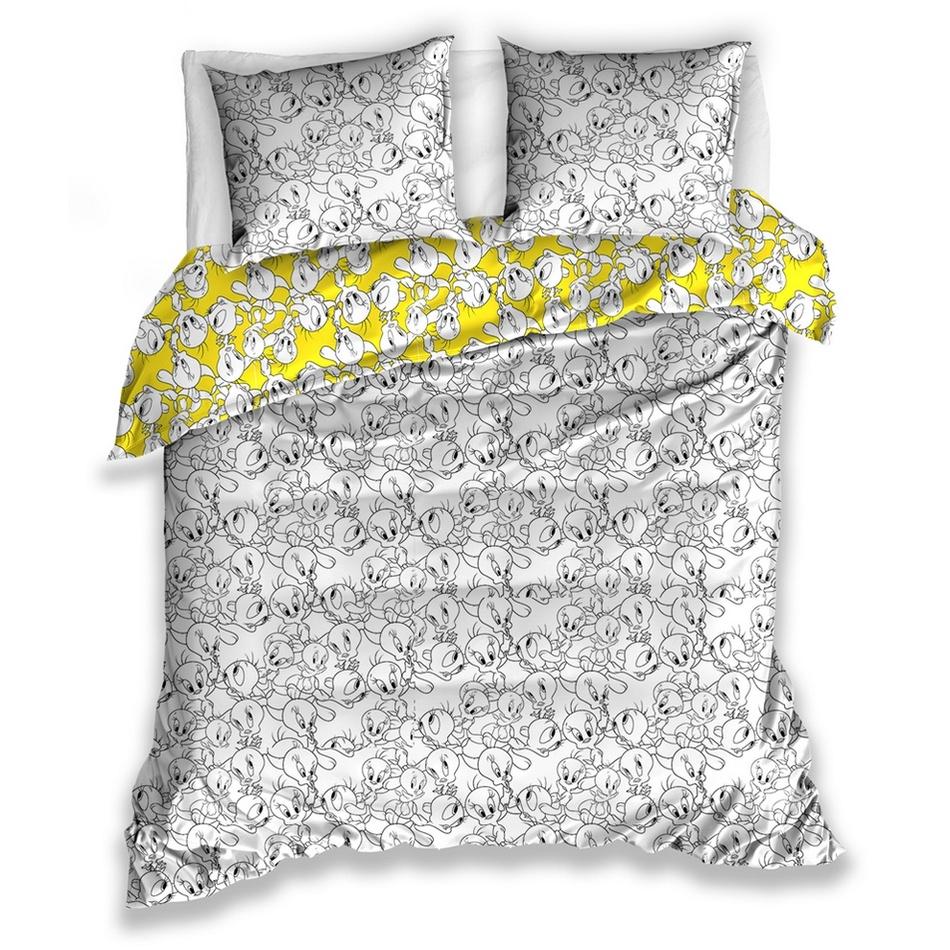 Tiptrade Saténové obliečky Tweety, 220 x 200 cm, 2 ks 70 x 90 cm