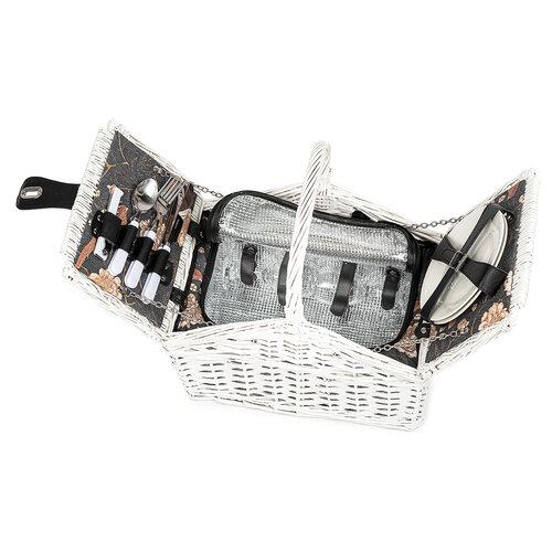 Piknikový kôš pre 2 osoby biela, 38 x 26 x 26 cm