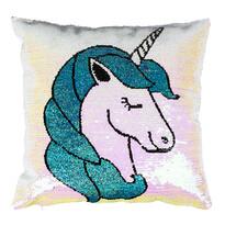 Pernuță Unicorn cu paiete, albastru, 40 x 40 cm