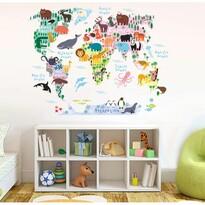 Decorațiune autocolantă Harta Lumii cu animale  pentru copii, 90 x 70 cm