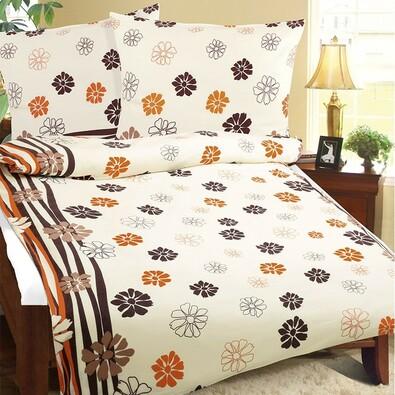 Flanelové obliečky Kvety oranžová, 140 x 200 cm, 70 x 90 cm