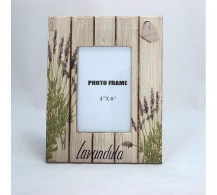 Dřevěný fotorámeček levandule